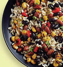 bowl of rice, beans, and corn